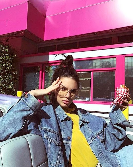 Le Fashion Blog Kendall Jenner Sunglasses Denim Jacket Yellow Turtleneck LA Cool Model Vibes Via @Kendalljenner
