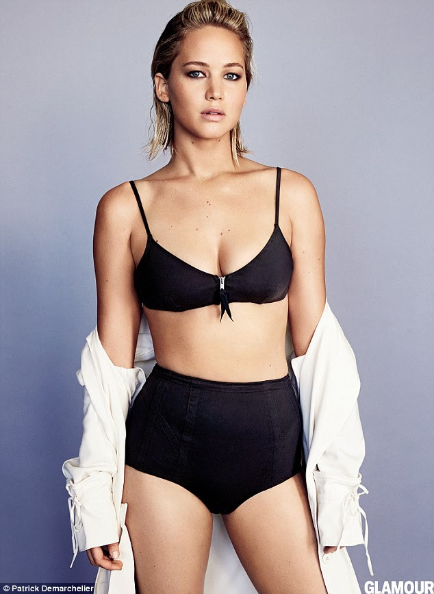 Proud of her body:Jennifer Lawrence has a certain way she likes to look. In the new issue of Glamour, the Hunger Games explained that because she has 't*** and ass' she can't dress like a skinny girl, meaning layers of embroidery don't compliment her. 'Those make me look fat. I have to show the lumps,' she said