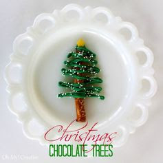 Chocolate pretzel Christmas Trees 1 burst