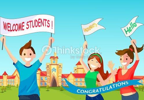 Concepto De Vector Ilustración Dibujos Animados Estudiantes Feliz