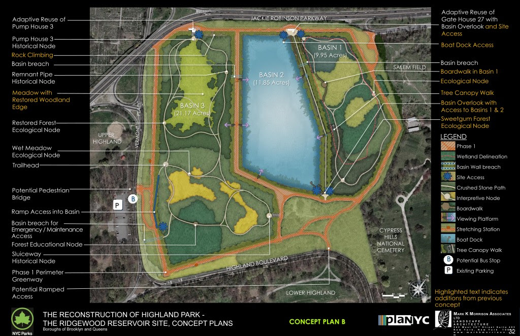 Plan B: Four-acre lawn area; Tree canopy walk; Boat dock access and rock climbing