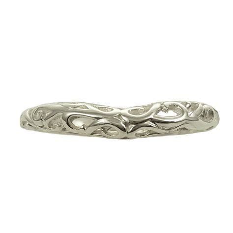 Antique Style 3mm Wide Filigree Curved Wedding Band
