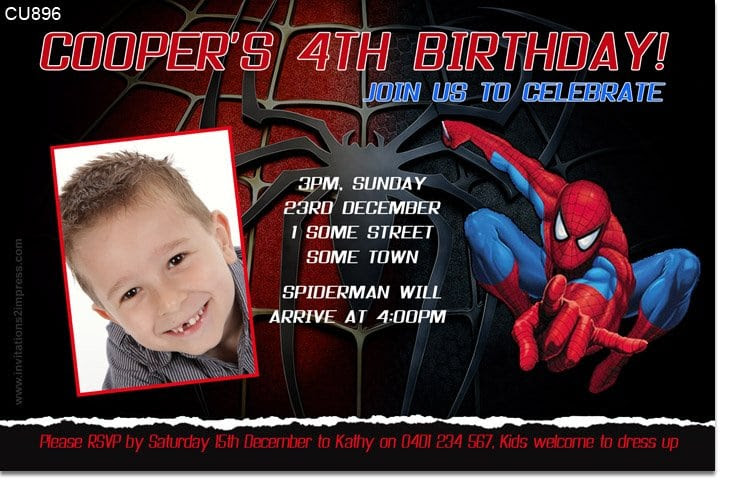 Spiderman Invitation Sample Birthday Templates