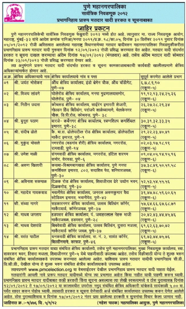 Pune Municipal Corporation Elections 2012: Check Your Name in Voters List From 12-1-2012 to 17-1-2012. Visit Ward Office / PMC Elections Office or www.pmcelection.org
