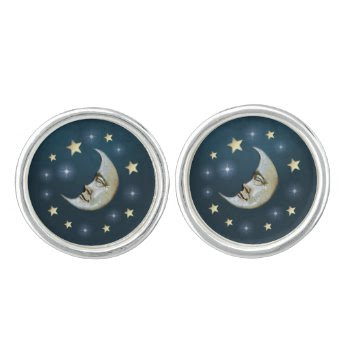 Teal White & Gold Moon & Stars Matching Cuff Links Cufflinks by juliea2010 at Zazzle