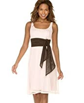Calvin Klein Mesh Scoop-Neck Dress with Contrast Sash