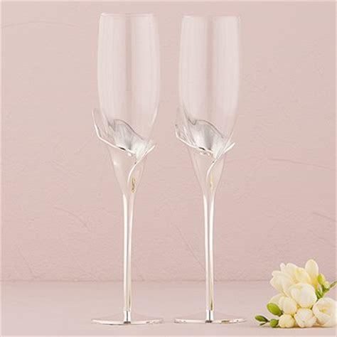 Silver Calla Lily Stem Champagne Glasses   Confetti.co.uk
