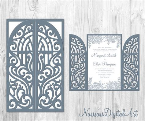 5x8'' Gate Fold Door Wedding Invitation Card Template