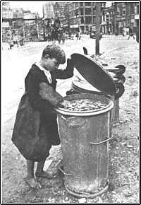 German boy scavenges for food