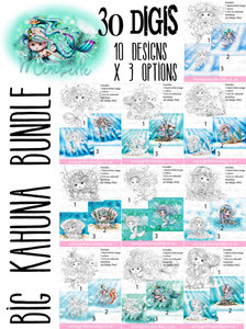 Meribelle Mermaid - 30 digital craft stamp download bundle