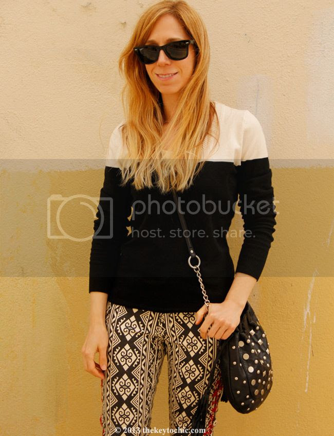Merona colorblock sweater, Forever 21 embroidered tribal print jeans, L.A. personal style blog, L.A. fashion blogger