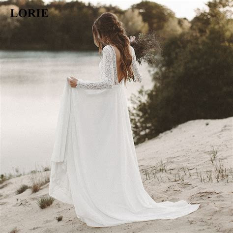 LORIE Beach Wedding Dress Long Sleeve Boho V Neck Open