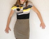WINTER SALE - Mini dress with cowl neck in  dark olive, grey, yellow and black (2)
