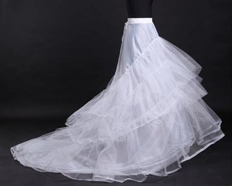 Cheap White Tulle Wedding Dresses Petticoat Train