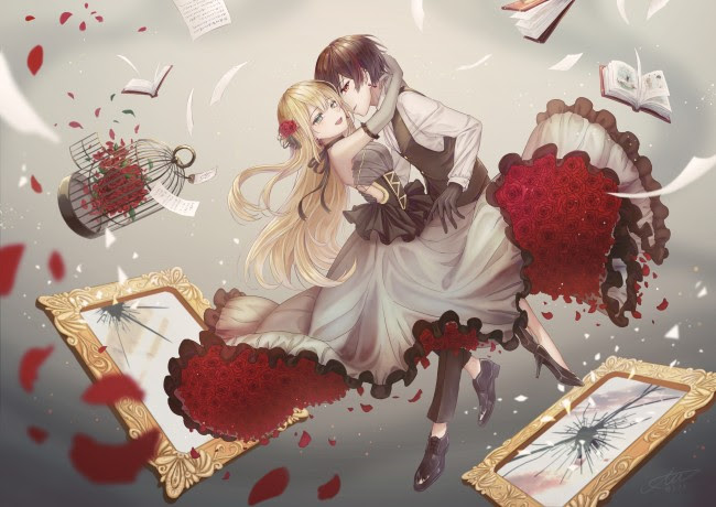 Wallpaper Cute Anime Couple Romance Dancing Shattered Frames Cage Wallpapermaiden