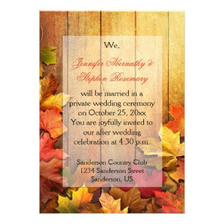 Autumn Fall Leaves Reception Only Celebration
