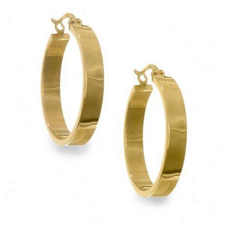 14K Gold 21mm Wedding Band Hoop Earrings   Hoops