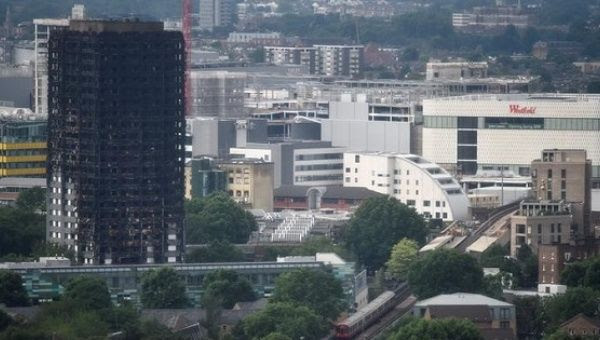 The burnt out remains of the Grenfell apartment tower are seen in North Kensington, London, UK, June 29, 2017.
