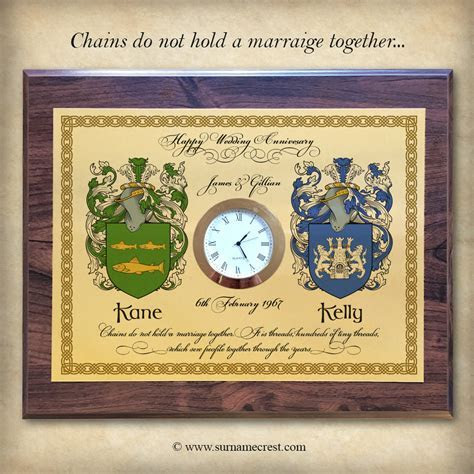 Wedding Anniversary Gift   Clock Plaque with Quotes
