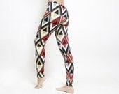 Red Black And Grey Women Leggings / Geometric Print Tights / Diamonds Print Leggings / Women Clothing / Women Pants - NoaRubinFashion
