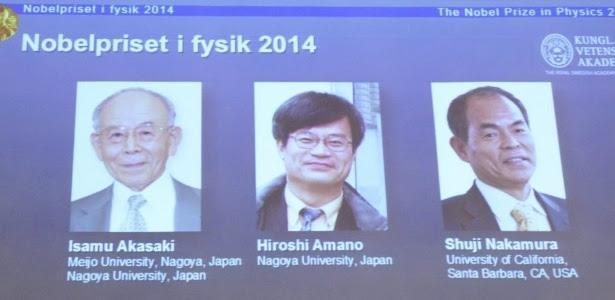 Os japoneses Isamu Akasaki, Hiroshi Amano e Shuji Nakamura, este último naturalizado americano, foram anunciados como os vencedores do Prêmio Nobel de Física 2014