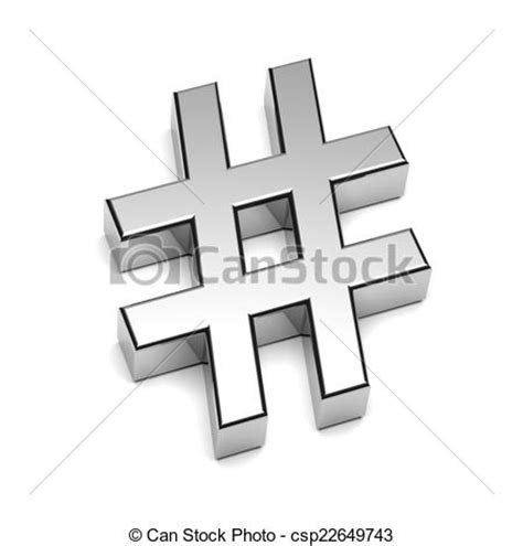 hashtag chrome sign isolated  white background