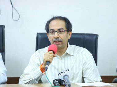 Uddhav Thackeray addressing a press conference on Tuesday. Image courtesy: Twitter/@OfficeOfUT