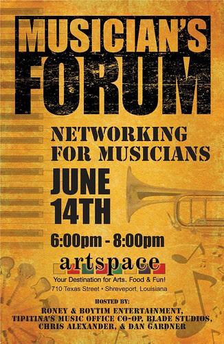 Musician's Forum: Tues, June 14, 6 pm, Artspace Shreveport by trudeau