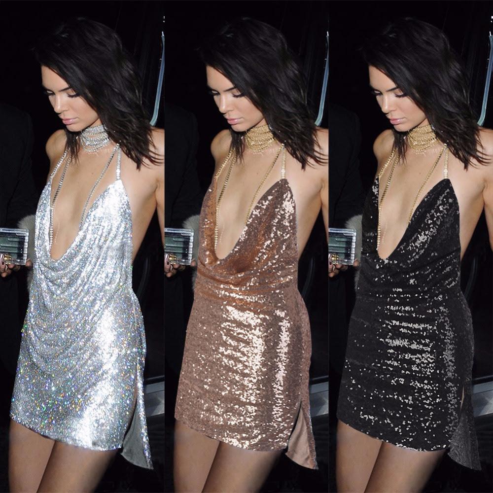 76d76d73 Sexy Deep V neck Backless Dress Mini Fashion Chic font b Glitter b font  font b