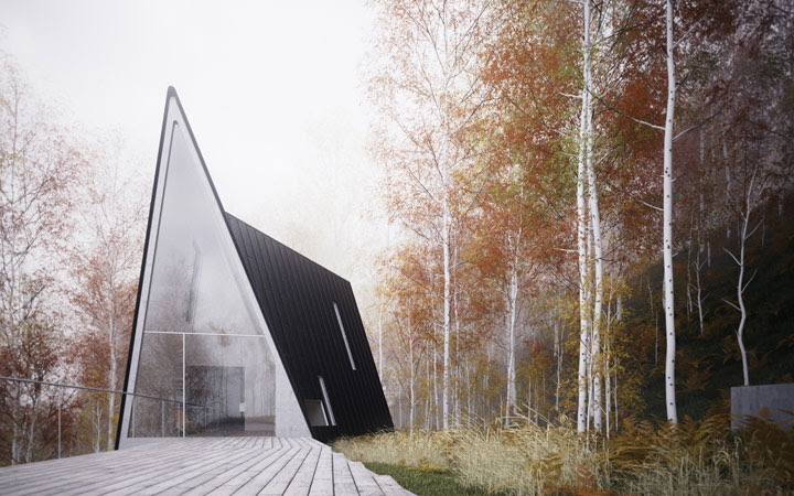 Asymmetrical House Design That Consist Of Three A-frames | DigsDigs