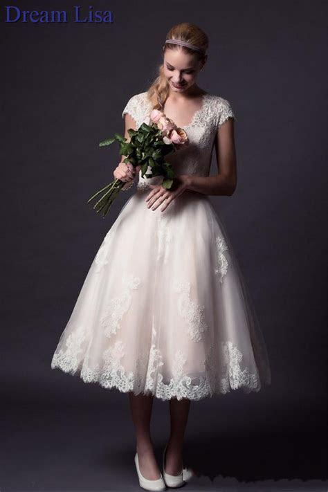 2015 Tea Length Wedding Dresses Lace Appliques Bridal