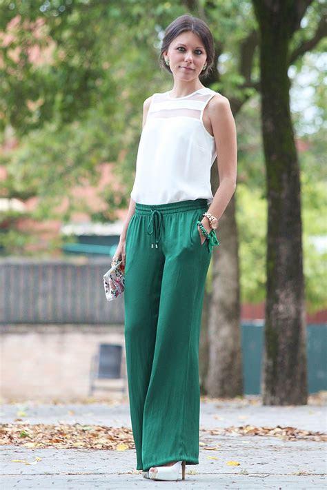 kelly green silky palazzo pants  sleeveless white top