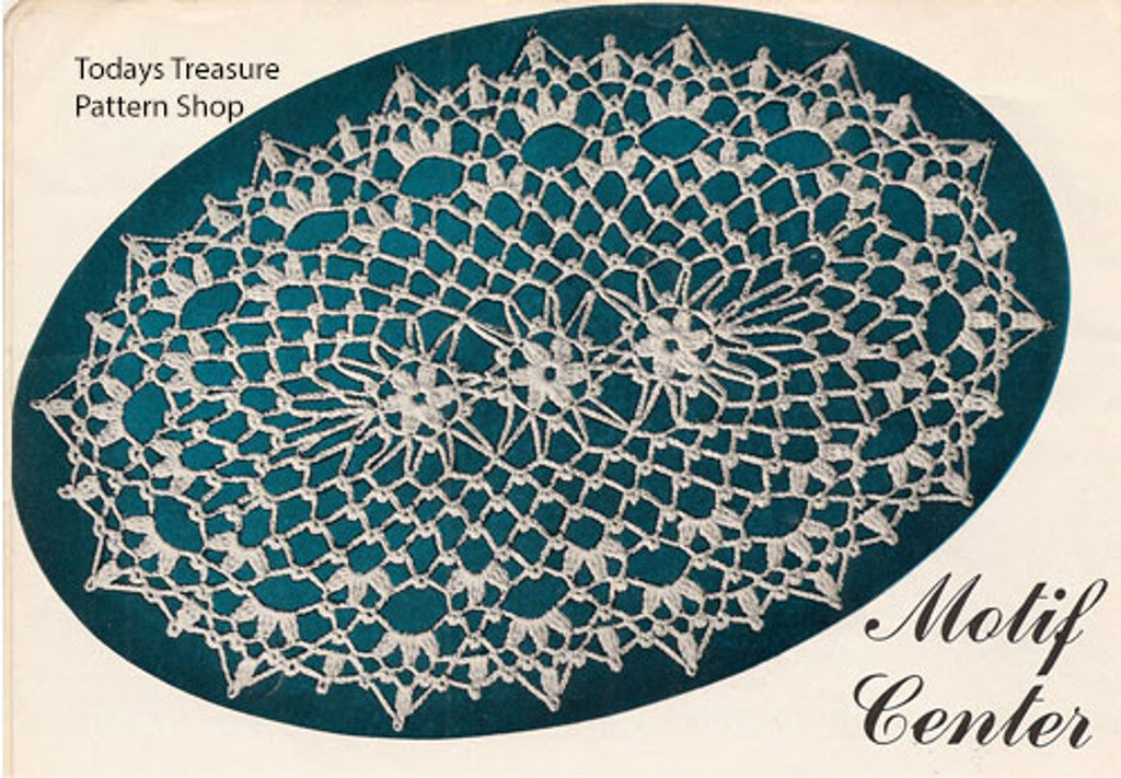 Oval Crocheted Lace Doily pattern with flower motif