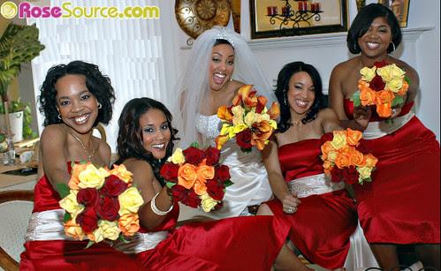 Wedding Bouquet Mango callas Dark red and yellow roses