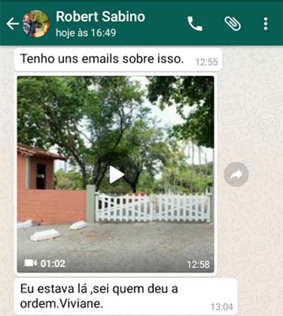 Robert dos Santos Sabino zap com caso Pâmela