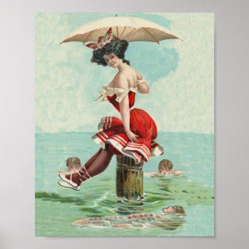Vintage Victorian Bathing Beauty Lady Ocean Poster | Zazzle