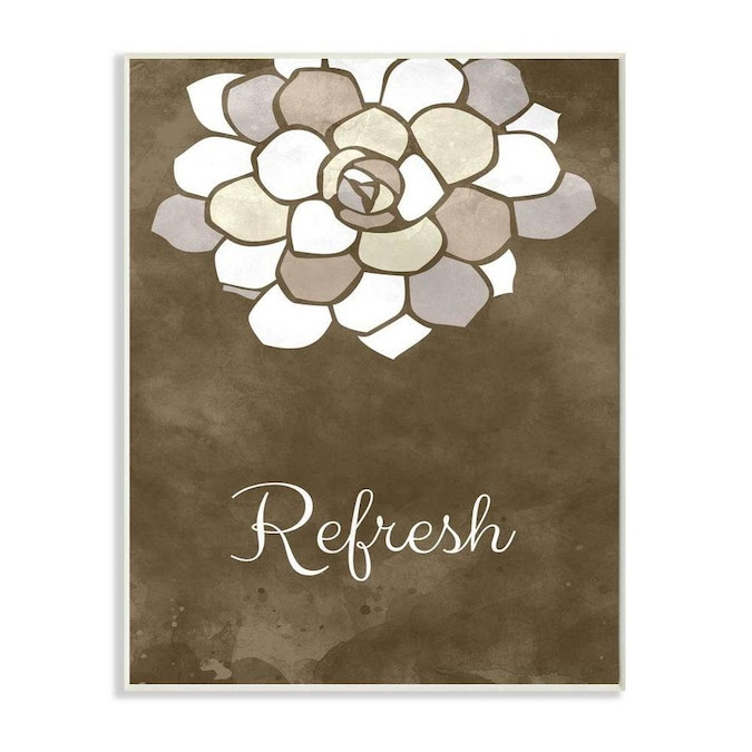 Stupell Industries Refresh Mosaic Flower Brown Bathroom Design Frameless 15 In H X 10 In W Abstract Wood Print In The Wall Art Department At Lowes Com