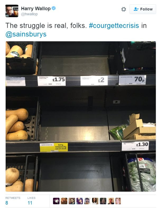 Empty courgette shelf