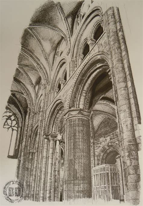 durham cathedral columns    draw buildings