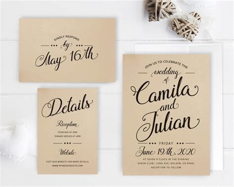 Cheap wedding invitation packages Kraft wedding invitation