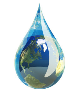 Water droplet with the earth in it.