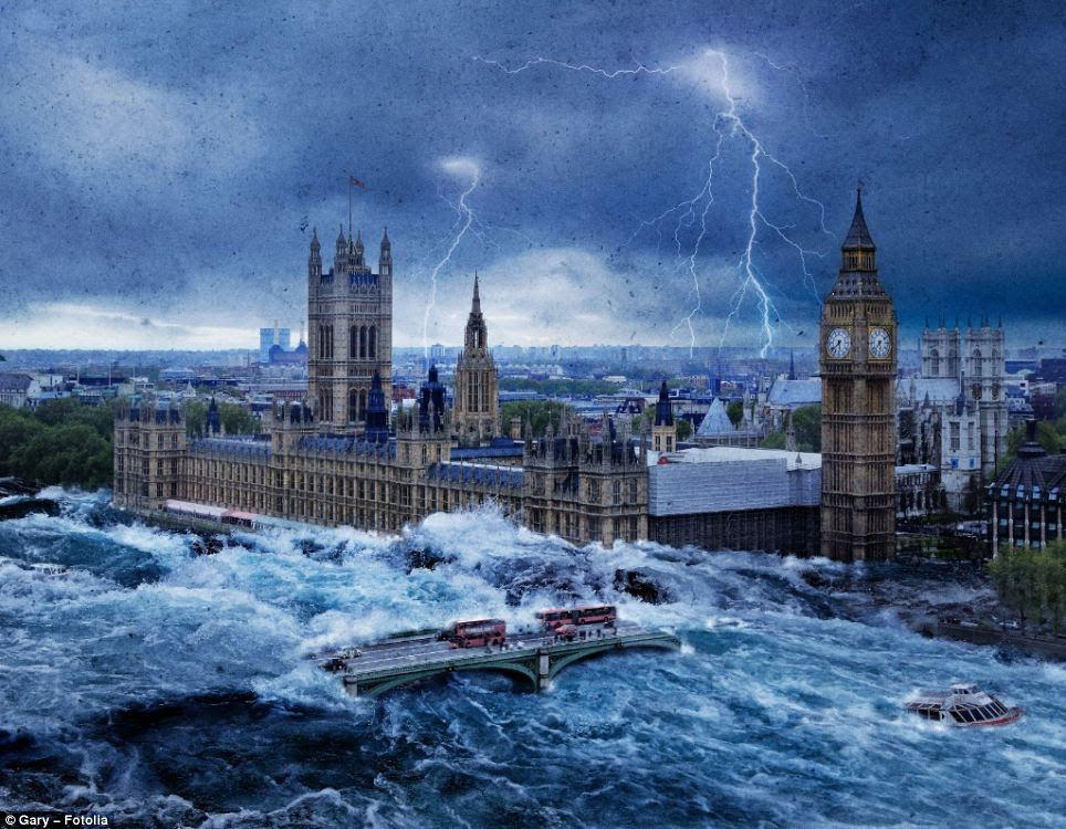 More than one in five Britons live in fear they will lose everything in a natural disaster. The image shows how the Houses of Parliament might look if there was a catastrophic flood in London