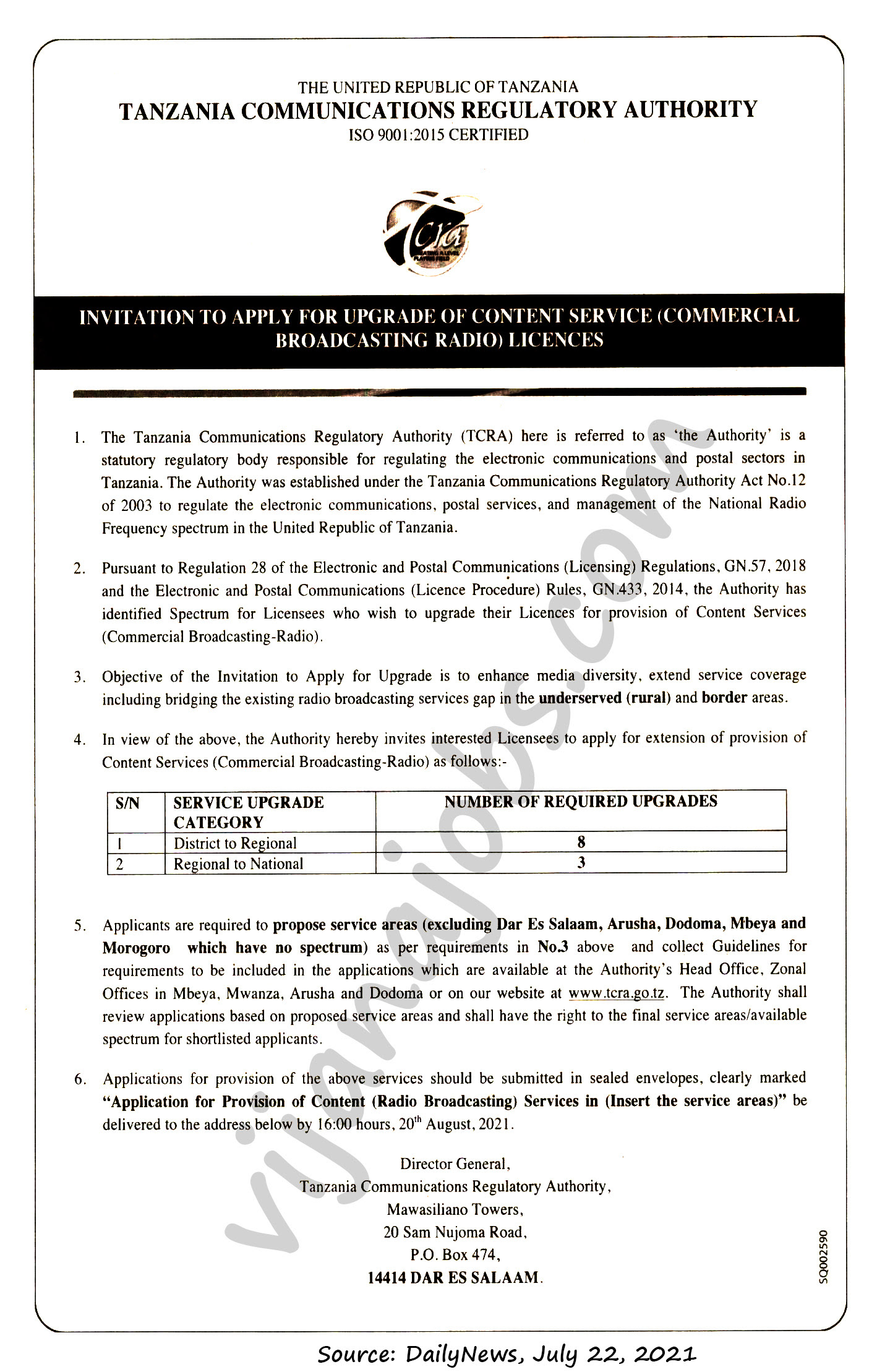 Provision of content service (Commercial Broadcasting Radio) licences