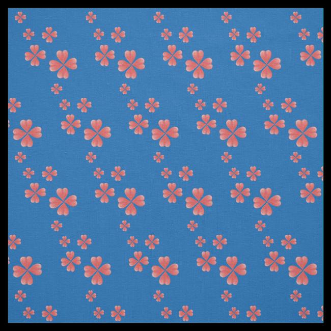Watercolor Heart Flowers Print Blue Fabric