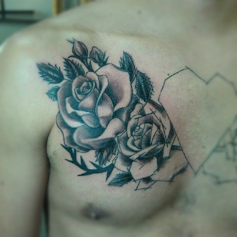 70 Brilliant Rose Tattoos For Chest
