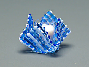 Glass Candleholder: Blue Stripe - Art Glass Candleholder - by Ed Edwards