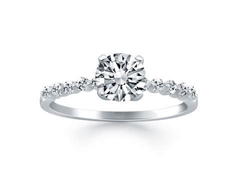 Diamond Engagement Ring Mounting with Shared Prong Diamond