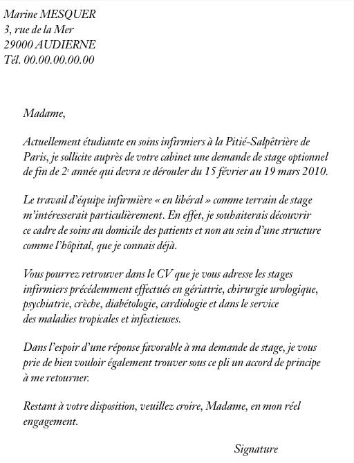 modele lettre demande d u0026 39 emploi infirmiere