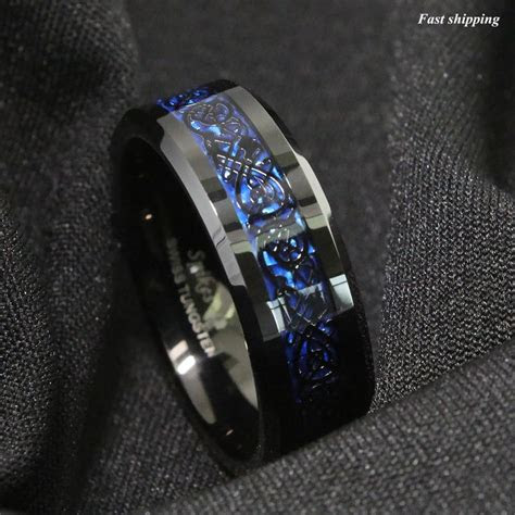 details  mm tungsten carbide ring black celtic