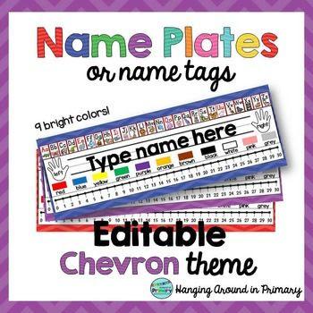 EDITABLE Name Tags / Name Plates - Chevron | Student, The o